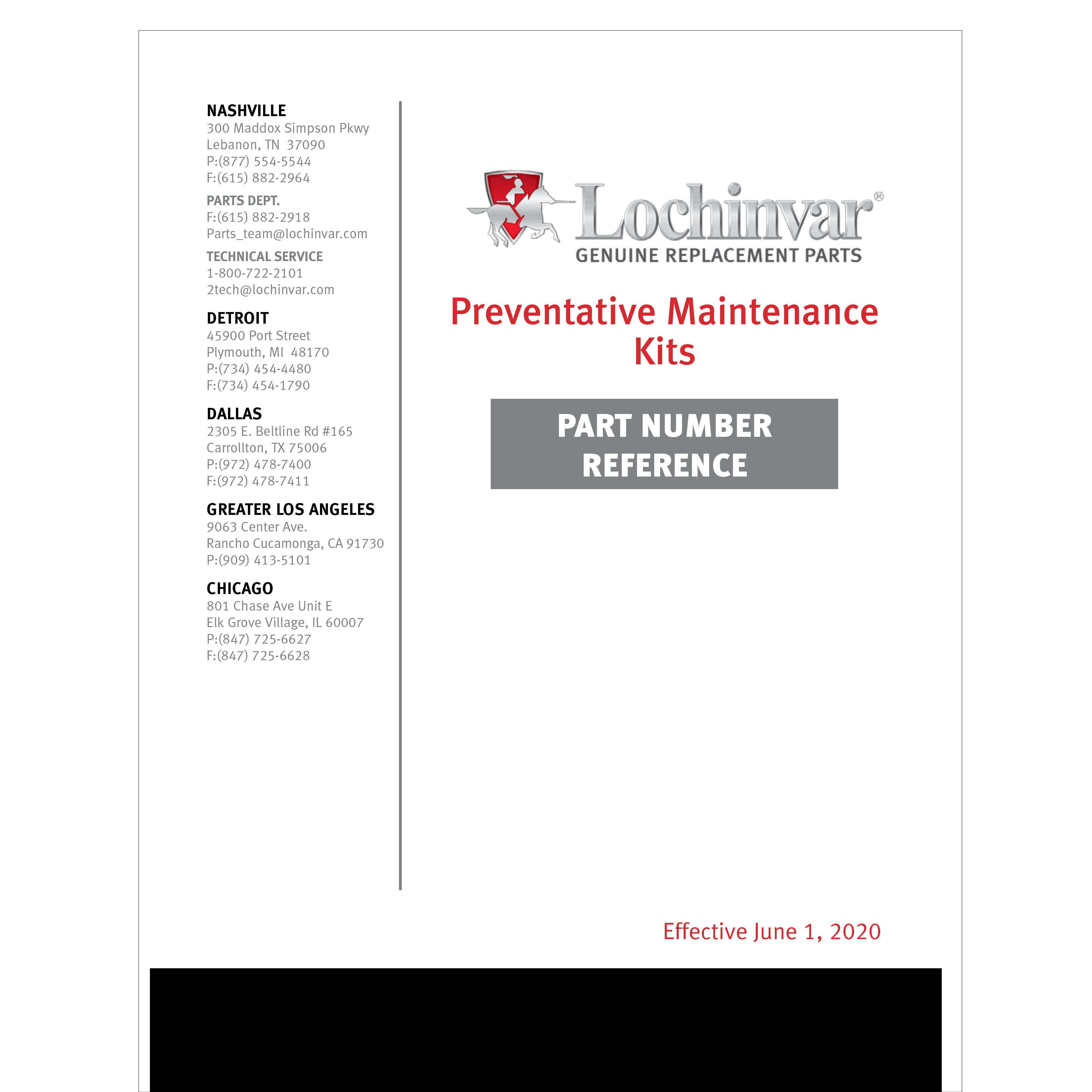 Preventative Maintenance Kit Part Number Reference